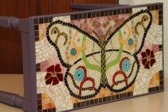 Butterfly mosaic on found piano bench - ReclaimedMosaics