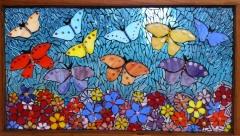 Crystal blue butterfly window - ReclaimedMosaics