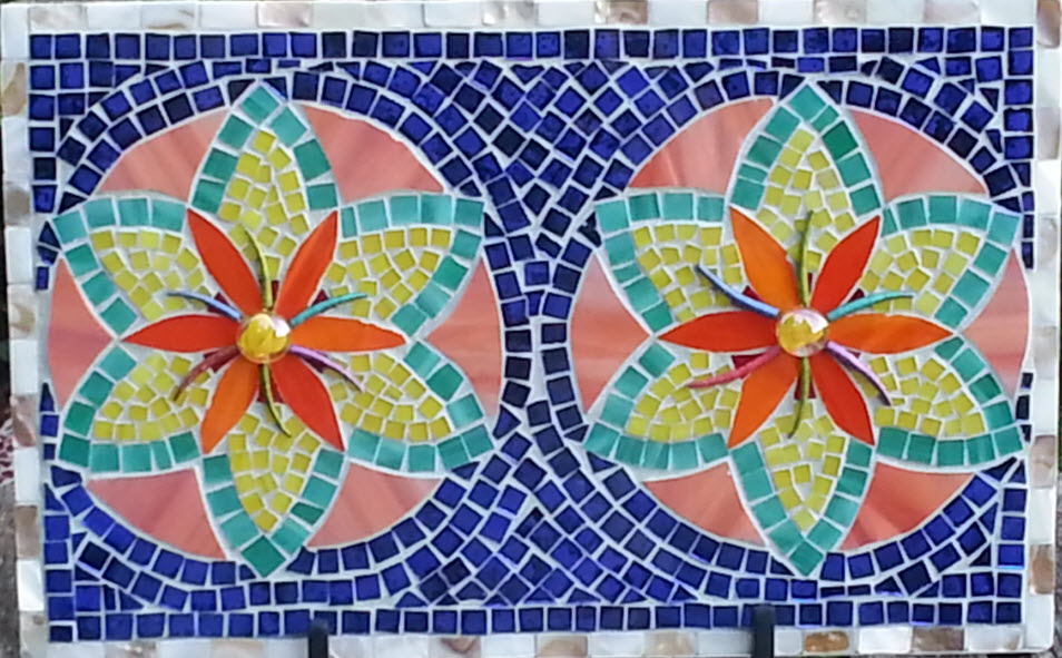 Double Flower Mosaic On Found Glass Reclaimed Mosaics