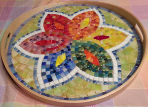 Platter completed, no grout - ReclaimedMosaics